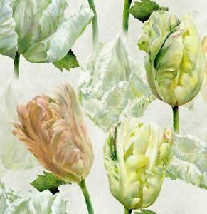 "DESIGNERS GUILD CURTAIN FABRIC DESIGN ""Spring Tulip"" 3.5 METRE BUTTERMILK COTTON"