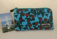 NWT KAVU Cammi Clutch Pouch Travel Case Wallet Purse Bag in Red Rose Turquoise