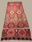 Vintage Turkish Kilim 414x174 cm Wool Kelim Rug Large Pink, Beige, Brown, Black