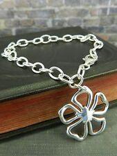 Sterling Silver Open Flower Charm Bracelet