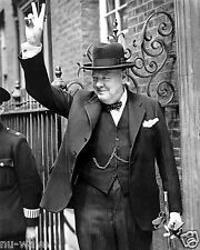 Winston Churchill in Downing Street giving his famous 'V' sign. June 5, 1943