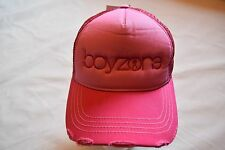 BOYZONE EMBROIDERED LOGO DISTRESSED PINK BASEBALL CAP NEW OFFICIAL BROTHER