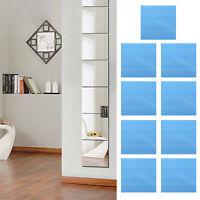 9Pcs Big Squre Mirror Tile Wall Stickers Mosaic Room Makeup Decor 3d Adhesive Yc