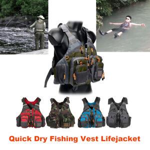 Fly Fishing Vest Lifejacket Quick Dry Fishing Waistcoat Adjustable Multi-pocket