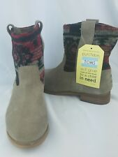 Toms Women's Laurel Tribal Tan Suede Pull On Slouch Boots Size 6