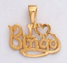 Gold I Love Heart Bingo Pendant Charm Diamond-Cut 24k Yellow Gold Plated GIFT