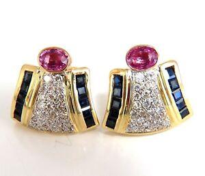 7.30ct Natural Pink Sapphire Diamond Clip Earrings 18kt Retro Prime