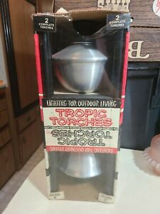 Vintage Set of 2 Tropic Torches MCM Tiki Style Spun Aluminum NOS New In Box PICS