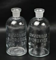Lot of (2) Wheaton TCW 300ml Ammonium Hydroxide NH4OH Embossed Apothecary Bottle