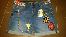 DESIGUAL Jeans-SHORT Tg. 33 = 42/44 con catena e applicazioni NUOVO