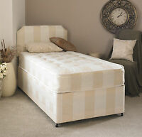 DEEP QUILTED DIVAN BED AND MATTRESS DIVAN BASE MATTRESS AND HEADBOARD DAMASK BED