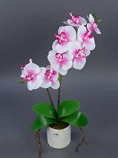 Orchidee Real Touch 60cm rosa-weiß im weißen Keramiktopf GA Kunstblumen