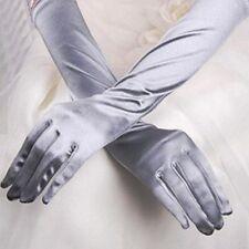 Paire de gants longs satin pour mariage : LONG 54 cm - coloris gris clair