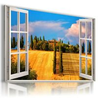 """3D FIELDS OF GOLD Window View Canvas Wall Art Picture Large SIZE 30X20"""" W258"""