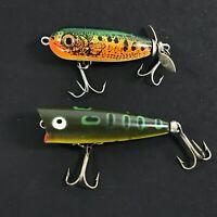 Lot of 2 Vintage Fishing Lures Heddon Tiny Chugger & Tiny Torpedo Perch Green