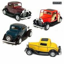 """Set of 4: 5"""" 1932 Ford 3-Window Coupe 1:34 (Green/Maroon/Red/Yellow) diecast toy"""