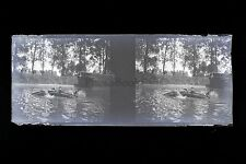 Photo amateur moderne Sport Plaque stéréo NÉGATIF 45x107mm ca 1920