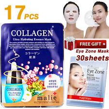 17pcs COLLAGEN Facial Mask Sheet + 30 Sheets Purederm Collagen Eye Zone Mask