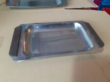 Retro Stainless Steel Serving Tray Dish with Teak Wood Handles r135