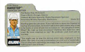 1987 GI JOE DEFIANT SPACE VEHICLE LAUNCH COMPLEX CRAWLER DRIVER HARDTOP FILECARD