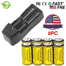 8pcs 16340 CR123A Battery 3.7V 2800mAh Rechargeable Li-Ion Batteries + 1*Charger