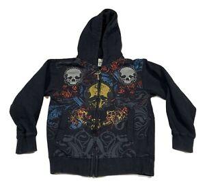 AVIREX Vintage Boys Small 8-10 Embelished Jacket Skulls Black Studded