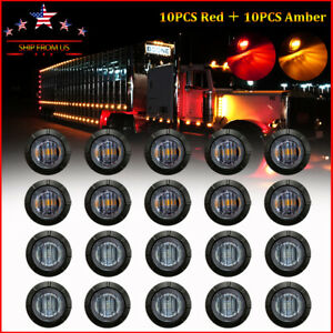 "20X Smoked Round Side Marker lights Truck Trailer Amber Red 3/4""LED Bullet Light"