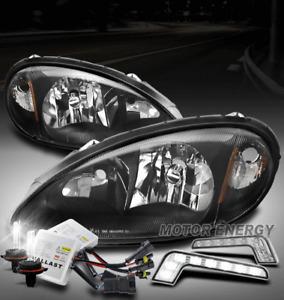 FOR 01-05 CHRYSLER PT CRUISER BLACK HEADLIGHT LAMP +LED DRL SIGNAL+6000K HID KIT