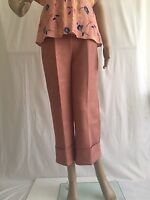 ZARA DUSTY ROSE FAUX SUEDE CROPPED TROUSERS SIZE M