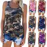 Übergröße Damen Camouflage Tank Top Weste Trägertop Sommer Bluse Shirt Hemdbluse