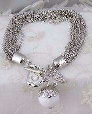 Silver Chain Bracelet White Flower Bead Crystal A Bracelet Fashion Jewelry NEW