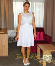 Vestido de Novia Encaje Corto M L XL XXL Novia Vestido Registro Civil Blanco