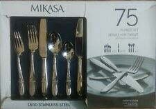 Mikasa Cocoa Blossom 75 Piece 18/10 Stainless Steel Flatware Set  For 12 #35