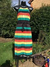 Jamaican Rasta Colour, Reggae,  Hollow Out Stripe Long Dress..10-12 and 12-14