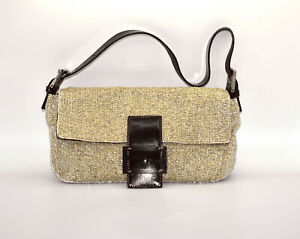 I0 Auth FENDI Beige Beaded Buckle Strap Baguette Purse Handbag Bag