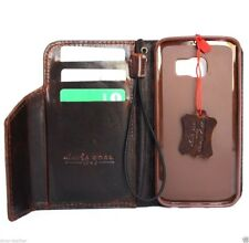 genuine leather Case for Samsung Galaxy S6 edge book wallet magnet cover brown R