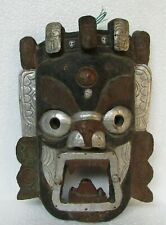 Vintage Old Wooden Tribal Devil Mask Metal Fitted Handcrafted Collectible