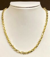 """18kt Solid Yellow Gold Handmade Link Men's Chain/Necklace 26"""" 60 grams 4.5MM"""