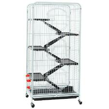 Large Rolling Ferret Cage 6 Levels For Small Pets Rabbits Squirrels White Sturdy