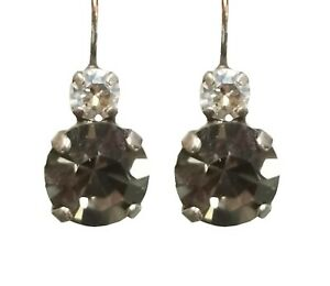 Mariana Crystal Earrings, Large, Gray and Clear (E10376 512)