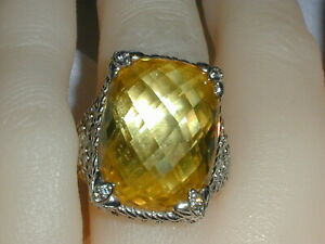GORGEOUS~ JUDITH RIPKA STERLING SILVER LARGE FACETED CITRINE CZ RING- SIZE 6 3/4