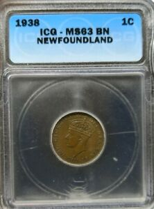 1938 Newfoundland 1 Cent ICG MS63BN **Very Rare**