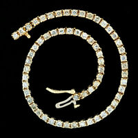 "Vintage 14K Yellow Gold 7"" 2.0ctw Round Brilliant Diamond Line Tennis Bracelet"