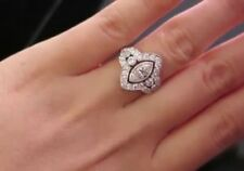 3.21 Ct Estate Marquise Diamond 14K White Gold Over Cluster Engagement Ring