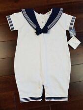 DANI BY SARAH LOUISE Baby Boy Sailor Fine Knit Romper 12 Months White Navy BNWT