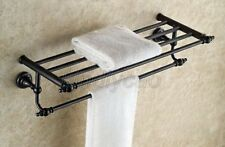 Black Oil Rubbed Bronze Wall Mounted Bathroom Towel Rail Bar Rack Shelf Kba821