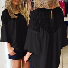 UK Stock Women Lace Up Crochet Evening Party Ladies Tops Loose Blouse Shirt Plus