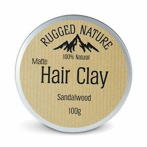 Rugged Nature 100% Natural Matte Hair Clay - Sandalwood - 100g