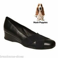 WOMENS HUSH PUPPIES WANITA BLACK LEATHER SLIP ON WEDGE HEEL HEELS WORK SHOES