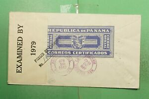 DR WHO 1942 PANAMA COLON REGISTERED TO USA WWII CENSORED OVPT  g02101